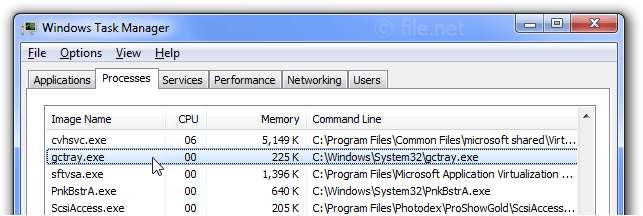Windows Task Manager with gctray