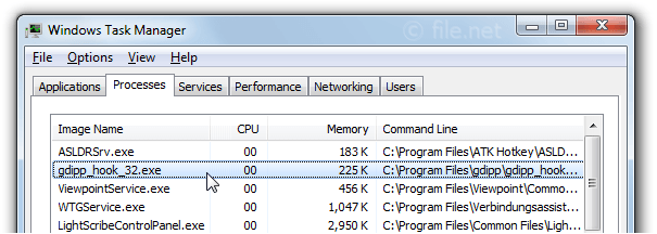 Windows Task Manager with gdipp_hook_32