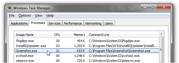 Windows Task Manager with Greenshot