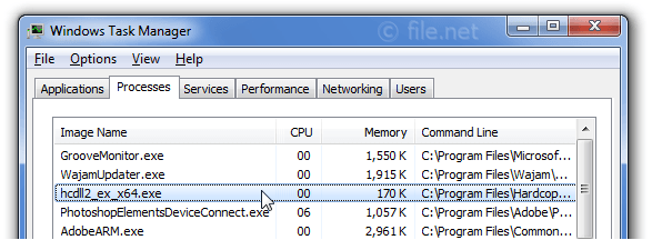 Windows Task Manager with hcdll2_ex_x64