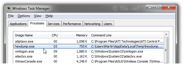 Windows Task Manager with hexdump