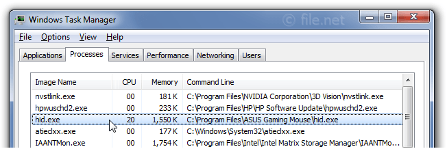 Windows Task Manager with hid