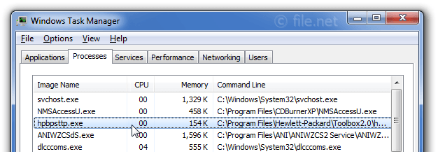 Windows Task Manager with hpbpsttp