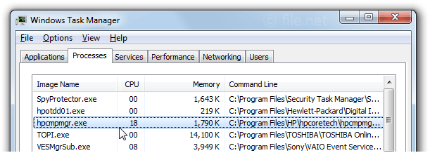 Windows Task Manager with hpcmpmgr