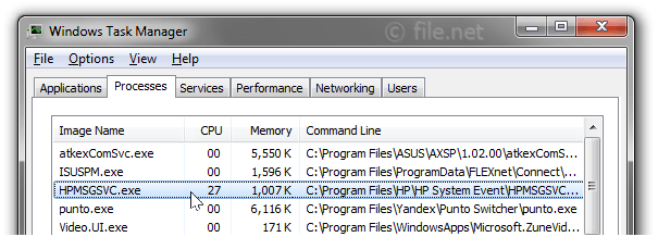 Windows Task Manager with HPMSGSVC