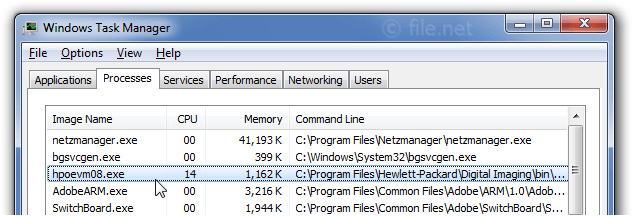 Windows Task Manager with hpoevm08