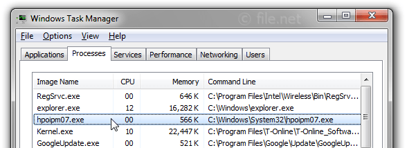 Windows Task Manager with hpoipm07