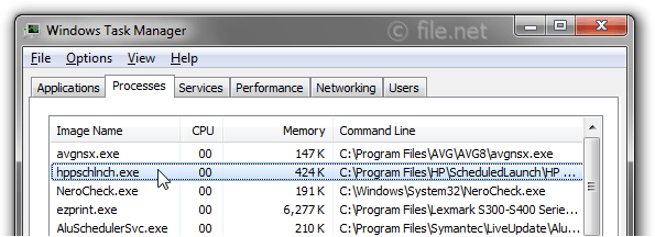 Windows Task Manager with hppschlnch
