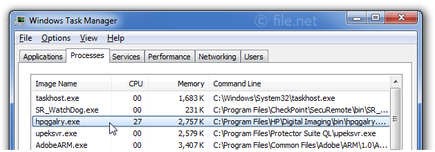 Windows Task Manager with hpqgalry