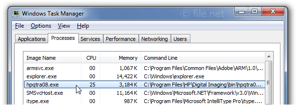 Windows Task Manager with hpqtra08