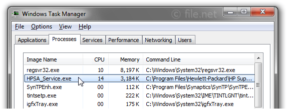 Windows Task Manager with HPSA_Service