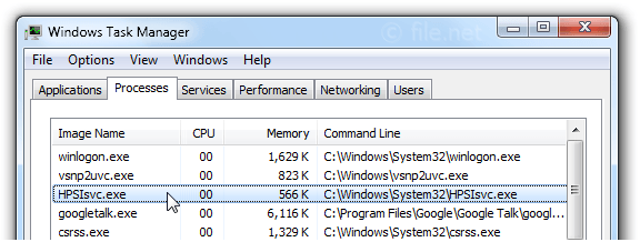 Windows Task Manager with HPSIsvc