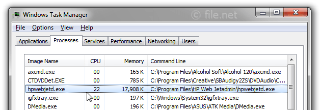 Windows Task Manager with hpwebjetd