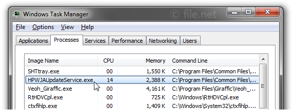 Windows Task Manager with HPWJAUpdateService