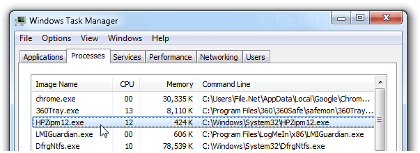 Windows Task Manager with HPZipm12
