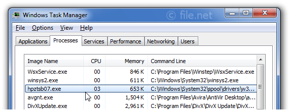 Windows Task Manager with hpztsb07