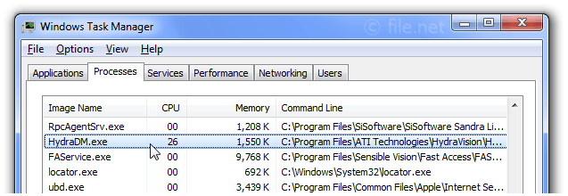Windows Task Manager with HydraDM