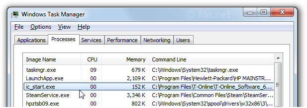 Windows Task Manager with ic_start