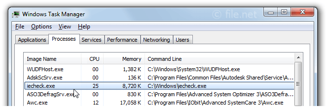 Windows Task Manager with iecheck
