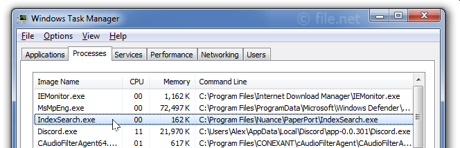 Windows Task Manager with IndexSearch