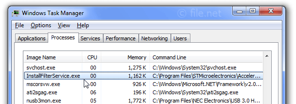 Windows Task Manager with InstallFilterService