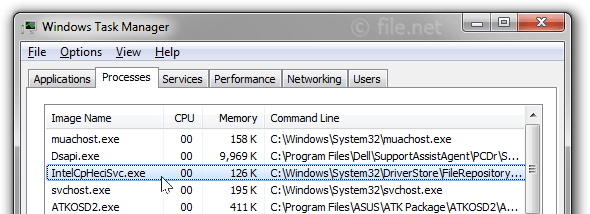 Windows Task Manager with IntelCpHeciSvc