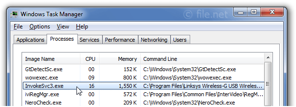 Windows Task Manager with InvokeSvc3