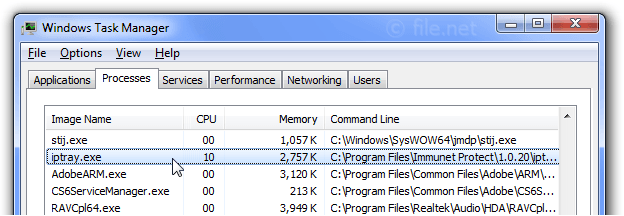 Windows Task Manager with iptray