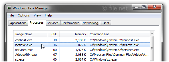Windows Task Manager with iscsiexe