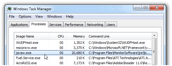 Windows Task Manager with javaw
