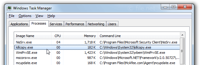 Windows Task Manager with killcopy
