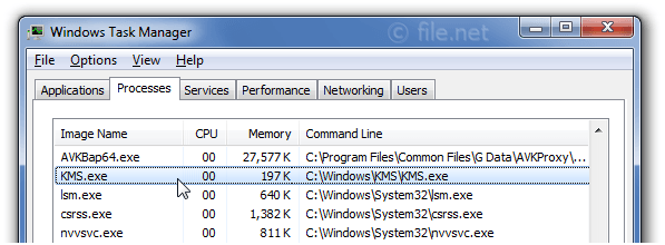 Windows Task Manager with KMS
