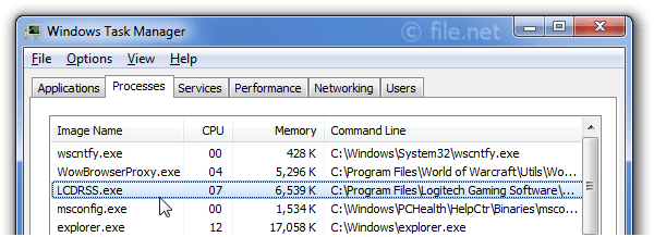 Windows Task Manager with LCDRSS