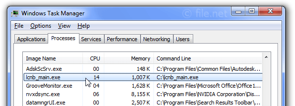Windows Task Manager with lcnb_main