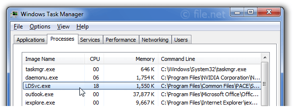 Windows Task Manager with LDSvc