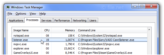 Windows Task Manager with listener