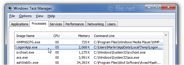 Windows Task Manager with LogonApp