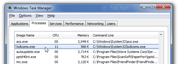 Windows Task Manager with lxdicoms