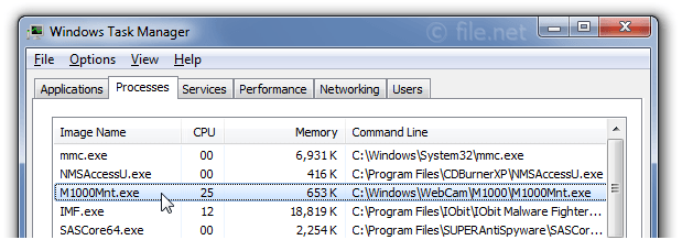 Windows Task Manager with M1000Mnt