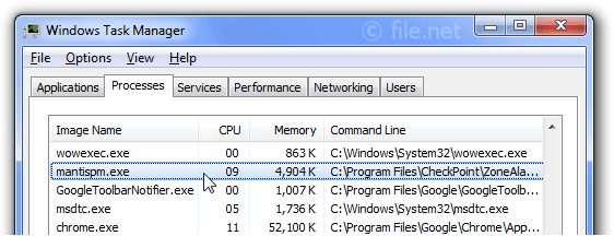 Windows Task Manager with mantispm