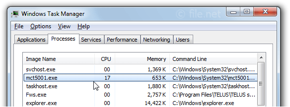 Windows Task Manager with mct5001