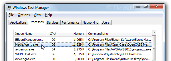 Windows Task Manager with MediaAgent