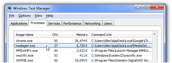 Windows Task Manager with mediaget