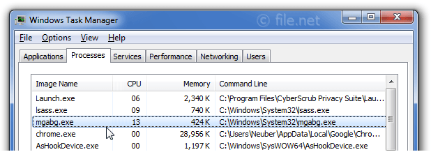 Windows Task Manager with mgabg