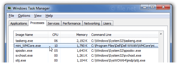 Windows Task Manager with mini_WMCore