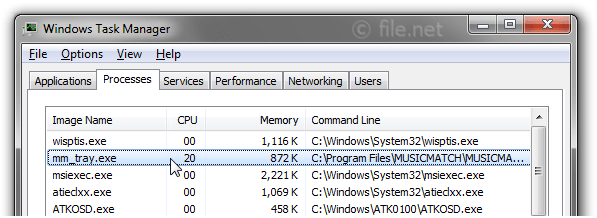 Windows Task Manager with mm_tray