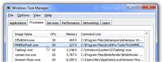 Windows Task Manager with MMERefresh