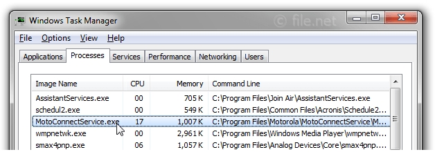 Windows Task Manager with MotoConnectService