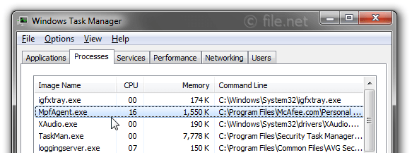 Windows Task Manager with MpfAgent