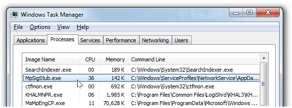 Windows Task Manager with mpsigstub